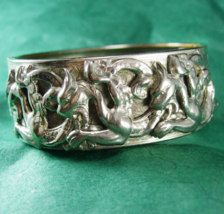 Vintage medieval winged Dragon Bracelet bangle cuff Mythical creature silver - $245.00