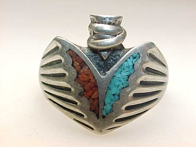 Primary image for Men's TURQUOISE and CORAL Arrowhead Vintage Ring in STERLING Silver - Size 9 3/4