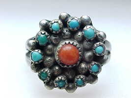 TURQUOISE and CORAL Vintage Ring in STERLING Silver - Size 7 1/4 - £54.59 GBP