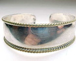 Mexican CUFF BRACELET in STERLING Silver with Gold Accents - Vintage - GORGEOUS