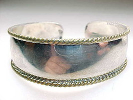 Mexican CUFF BRACELET in STERLING Silver with Gold Accents - Vintage - G... - $145.00