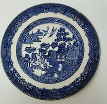 """Vintage Willow Johnson Brothers Asian Fishing Theme Plate 7.75"""" Ironstone - $9.45"""