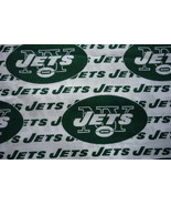 New York Jets NFL Cotton Fabric Remnant 13.5 x 9.5  inches - $2.50
