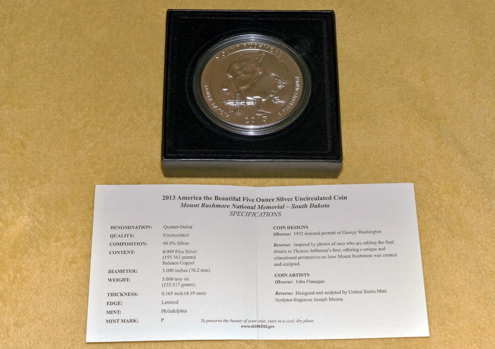 2013 P America The Beautiful Mt. Rushmore 5 Oz Silver Unc. Collectors Issue Coin