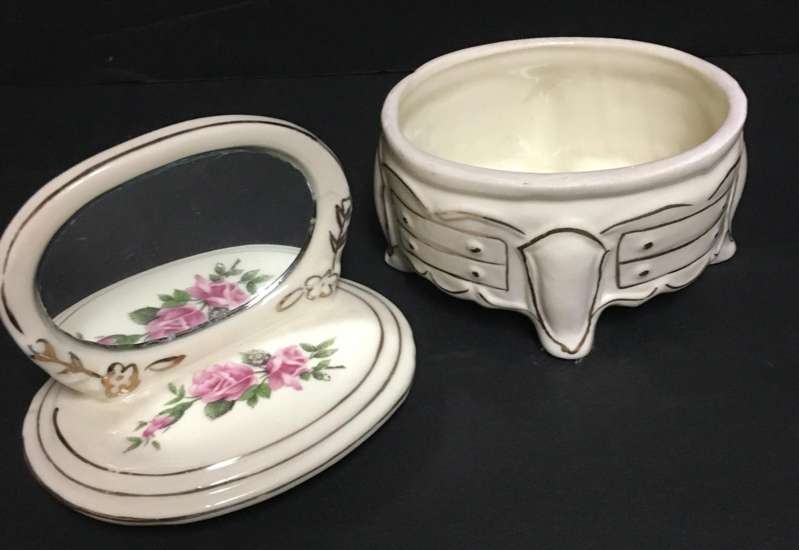 Porcelain Mini Dresser w/Mirror Jewelry Ring Trinket Box Hand Painted