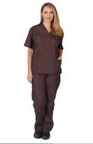 Brown Scrub Set L V Neck Top Drawstring Pants Ladies Natural Uniforms New