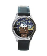 SNOOPY PEANUTS STARRY NIGHT VAN GOGH SILVER-TONE WATCH - $15.99