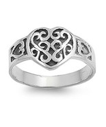 Sterling Silver ring size 10 Celtic Heart Infinity Love Knot Irish New 9... - $12.58