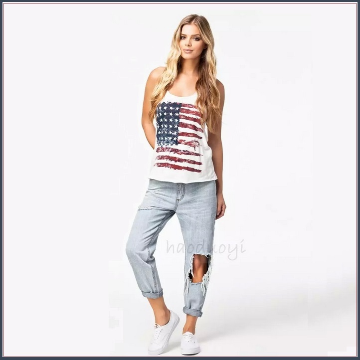 White Sleeveless Abstract Painted American Flag Razor Back Cotton Tee Shirt