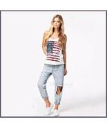 White Sleeveless Abstract Painted American Flag Razor Back Cotton Tee Shirt - $28.95