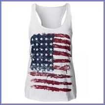 White Sleeveless Abstract Painted American Flag Razor Back Cotton Tee Shirt image 2