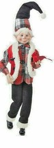 "Raz Imports 16"" Red Plaid Posable Elf  - $32.62"