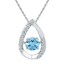 Sterling Silver Womens Round Lab-Created Blue Topaz Teardrop Pendant 3/4... - $124.21
