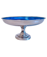 Midcentury Silver and Blue Pedestal Dish Tazza - $49.00