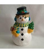 Ceramic Christmas Snowman Alberta's Mold Turquoise & Yellow Scarf Tree P... - $28.00