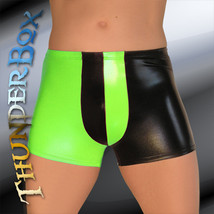 ThunderBox Faux Latex Black & Neon Green Harlequin Pouch Shorts S-M-L-XL - $25.00