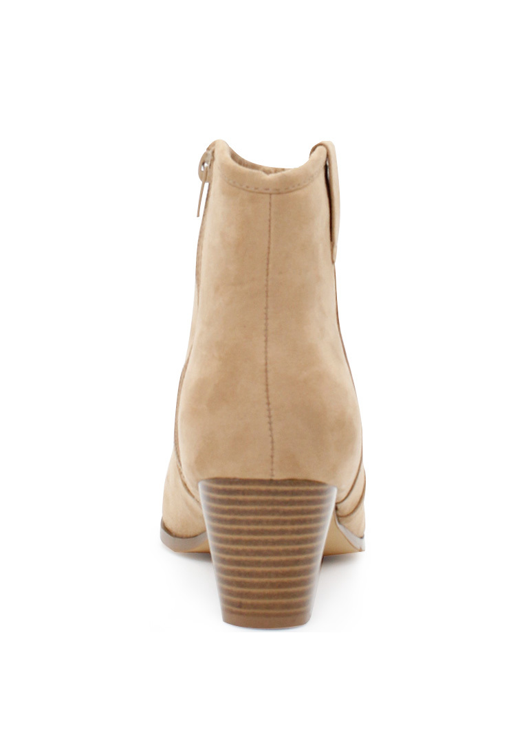 London Rag Women's Sand Colour  Pointed Toe Zipper Bootie