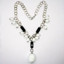 Silver 925 Necklace, Onyx Black, Agate White Drop, Waterfall Pendant image 3