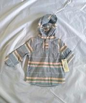 Genuine Kids From Oshkosh Boy's Stripe Baja Hodded Plaid Blue Shirt Size 2T - $10.39