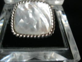 MOTHER of PEARL Vintage RING set in Sterling Silver - Size 5 - BIG and BOLD - $50.00