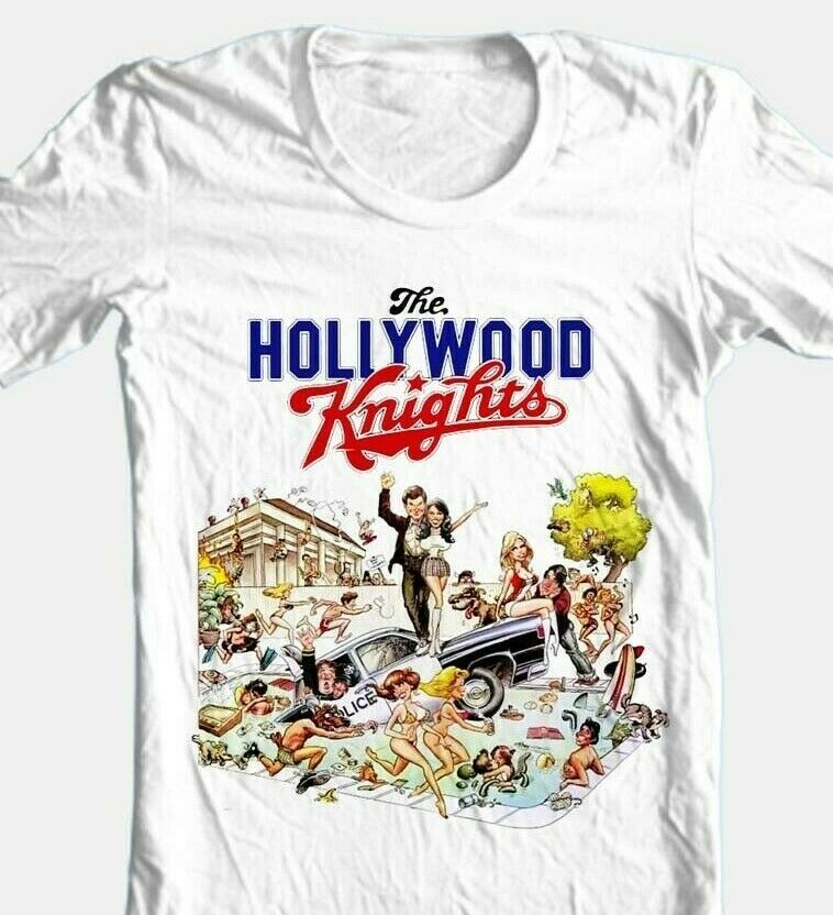 Hollywood Knights T-shirt retro 1980s 1970s movie cotton white graphic tee