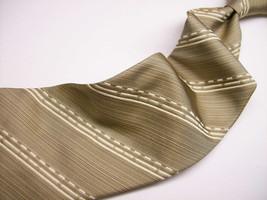 ANDREW BUCKNER  Greenish TEXTURED White STRIPES  Mens 100 SILK Necktie 4... - $24.99