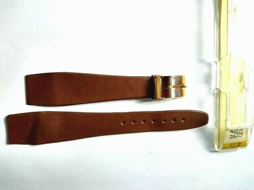 Primary image for NOS Vintage Hirsch Leather Brown Gold Buckle Watch Band 20mm FREE SHIPPING