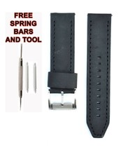 Fossil ME1129 24mm Black Leather Watch Strap Band FSL115 - $28.71
