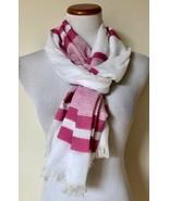 "NWT Modena White Raspberry Pink Striped Scarf Shawl Wrap Fringed 28"" x 72"" - $9.99"