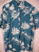 Vintage Royal Creations Hawaii Camp Shirt Island Map M - $26.53