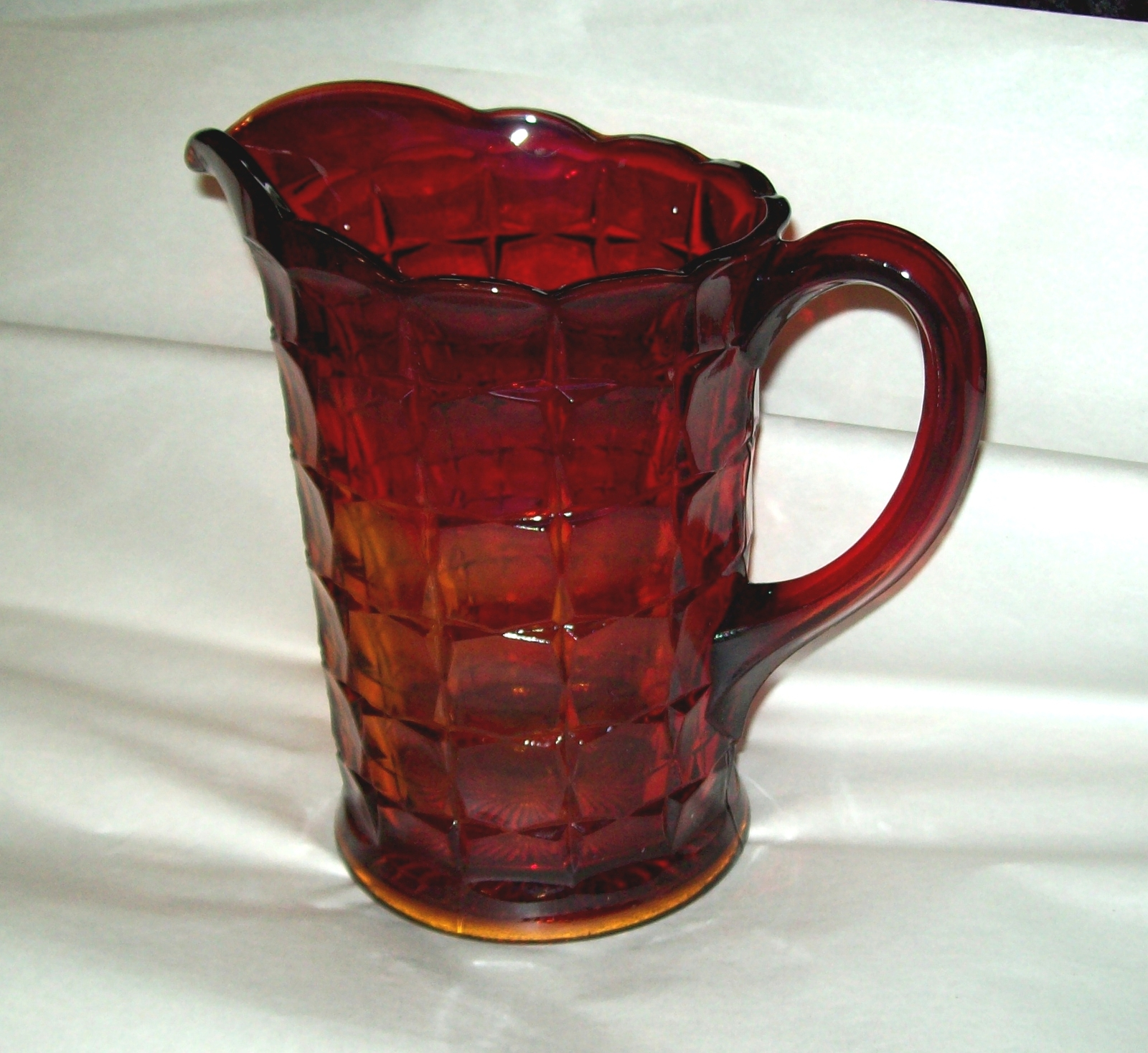 Indiana Glass Tiara Ruby Sunset Amberina Red Constellation Water Pitcher Vintage