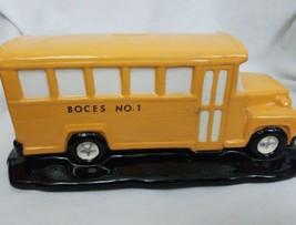 "BOCES No. 1 School Bus Piggy Bank Ceramic Rochester NY 11.5""x5""x4.5"" - $34.68"