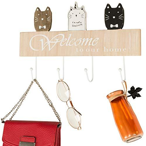 "Wall Mounted Coat Rack with 4 hanging hooks. 16"" Long, Cat Themed, and Ready to"