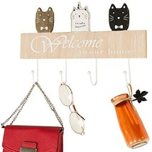 "Wall Mounted Coat Rack with 4 hanging hooks. 16"" Long, Cat Themed, and Ready to  image 1"