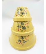Robinson Ransbottom Roseville Nested Mixing Bowls Set 3 Yellow Flowers F... - $69.99