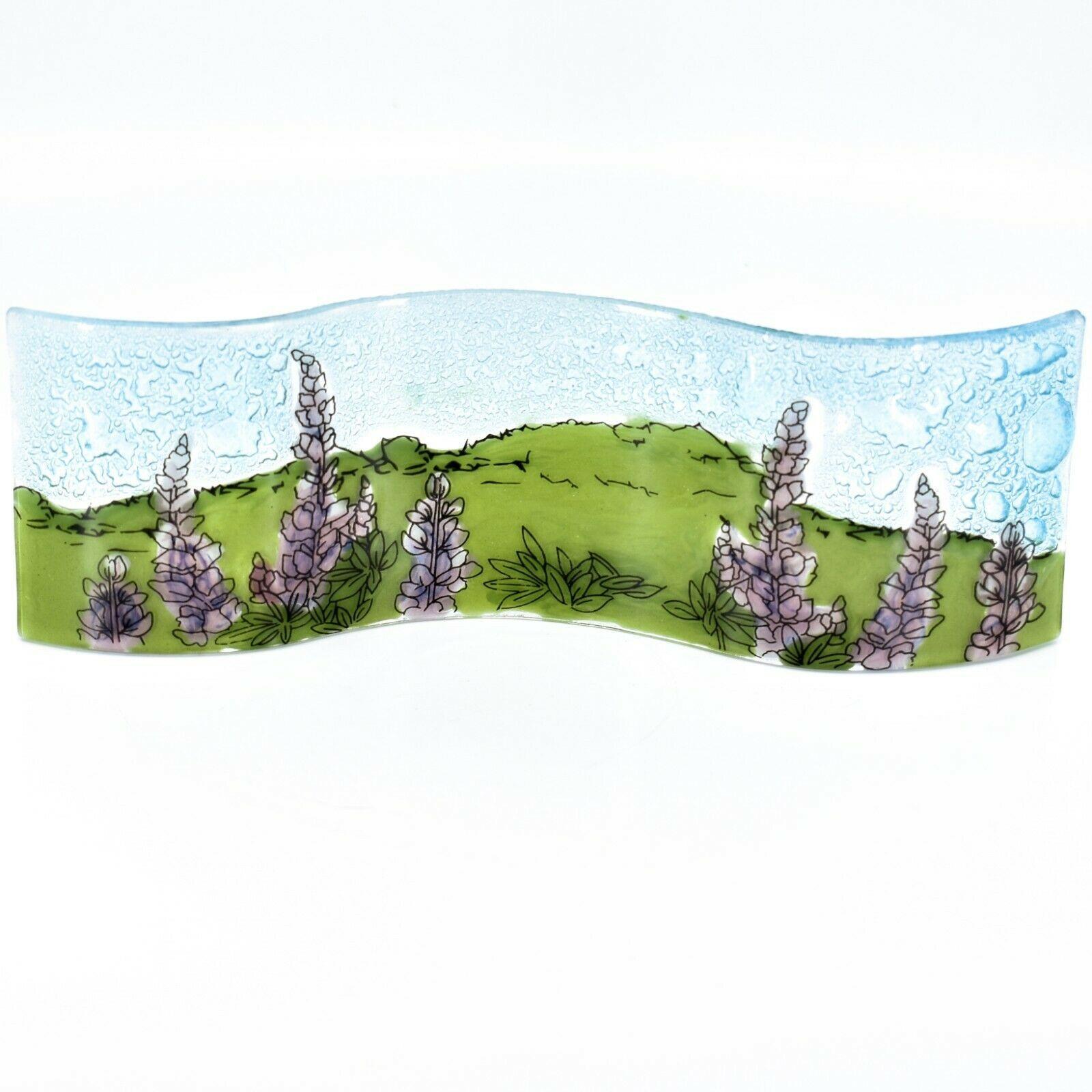 Fused Art Glass Purple Lupine Flower Floral Wavy Sun Catcher Handmade in Ecuador