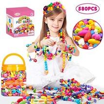 Oumoda Pop Beads Girls Toys 580 PCS DIY Jewelry Making Kit- Kids Snap Be... - $25.94