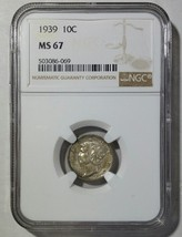 1939 Mercury Silver Dime 10¢ Coin NGC MS67  - Lot# SR 1244