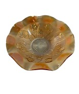 "Jeanette Iris Herringbone Bowl Carnival Glass Ruffle Edge 12"" Across Vin... - $24.75"