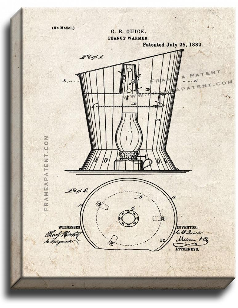 Primary image for Peanut Warmer Patent Print Old Look on Canvas