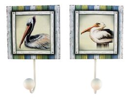 Pair of Coastal Birds Pelicans Wood Single Wall Hooks Set of 2 - $34.22