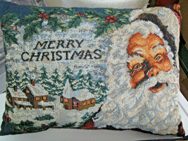CHRISTMAS SANTA Tapestry THROW PILLOW 12 x 16 VTG from Cedar Storage - $13.00