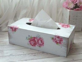 Wooden Tissue Box Cover. Roses and White Home Decor. - $35.00