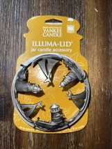 Yankee Candle Illuma Lid Metal Jar Candle Topper Sailboat Nautical LifeBouy - $36.99