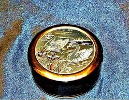 Vintage Swan Trinket/ JewelryBox 24 kt gold AA19-1408