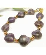 Sugilite Purple Gemstone Copper Gold Bracelet 8 inch - $32.00