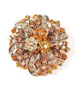 Flower Pin Pendant Brooch Gold Brown Topaz Crystal Multicolor Gold Tone ... - $24.99