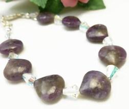 Sugilite Purple Gemstone Swarovski AB Crystal Bracelet 7.5 inch - $33.00