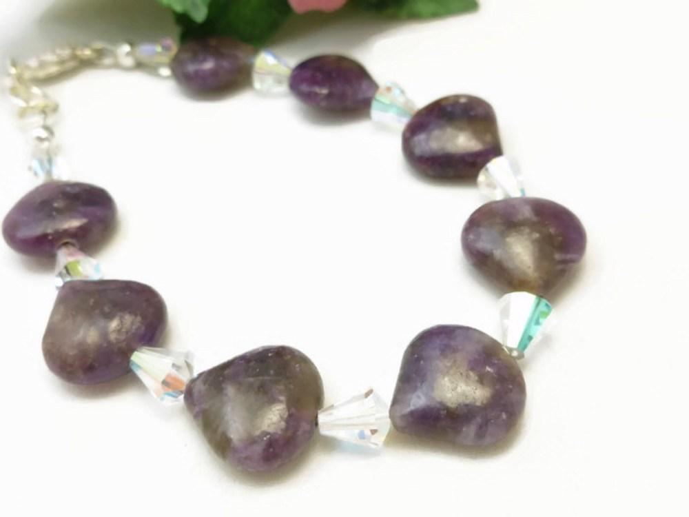 Sugilite Purple Gemstone Swarovski AB Crystal Bracelet 7.5 inch