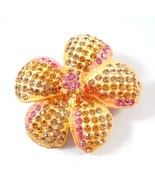 Flower Pin Brooch Pink Citrine Amethyst Crystal Multicolor Spring Summer... - $29.99